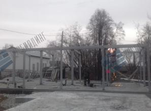 Здание котельной, монтаж металлоконструкций